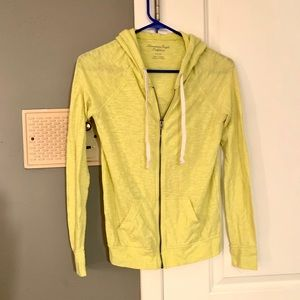 Neon Yellow American Eagle Zip Hoodie XS